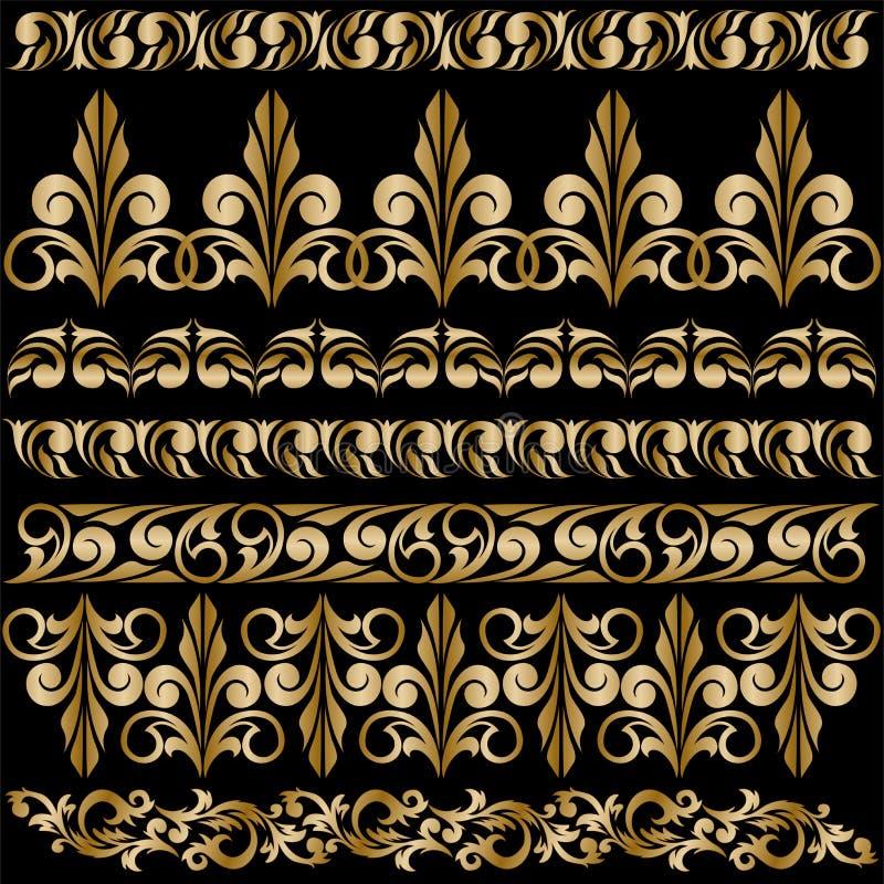 Reeks vergulde ornamenten vector illustratie