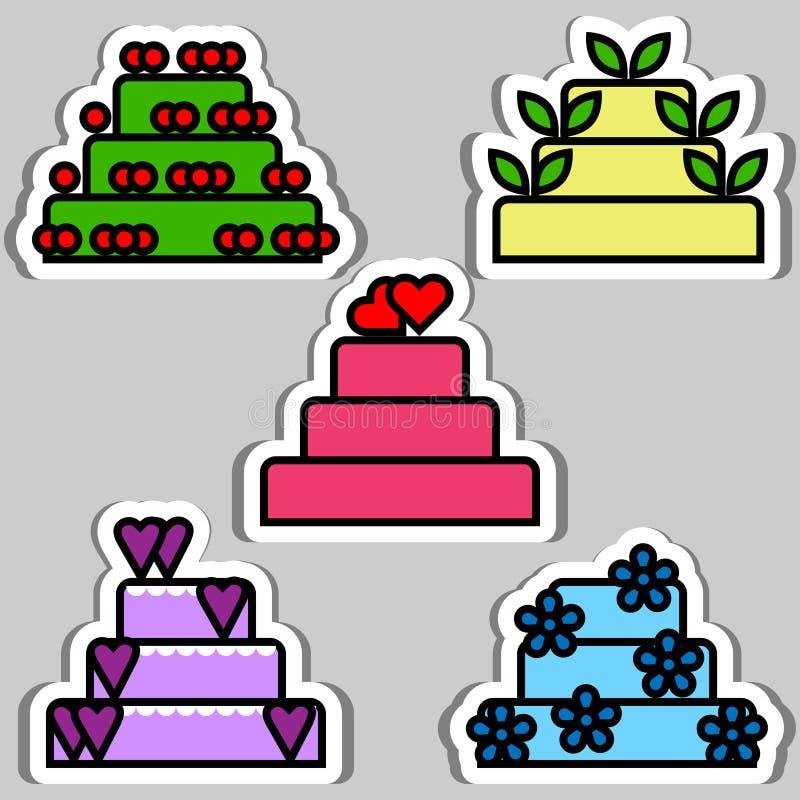 Reeks verjaardag en huwelijkscakes stock illustratie