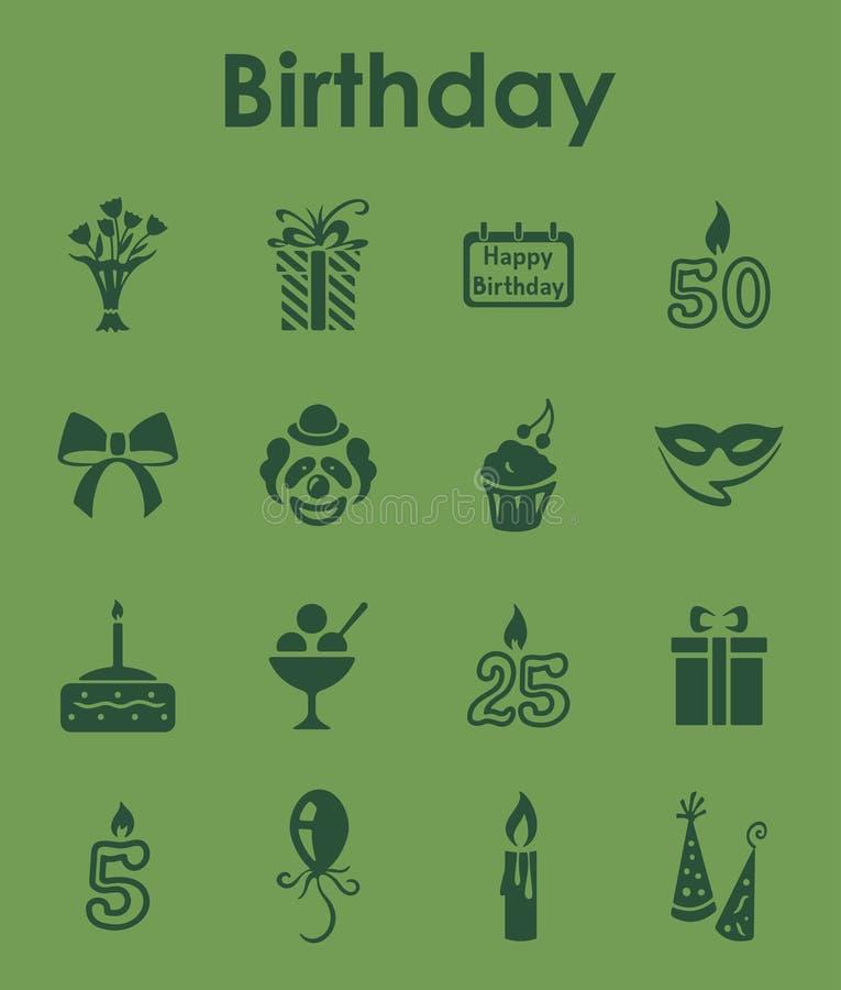 Reeks verjaardags eenvoudige pictogrammen royalty-vrije illustratie