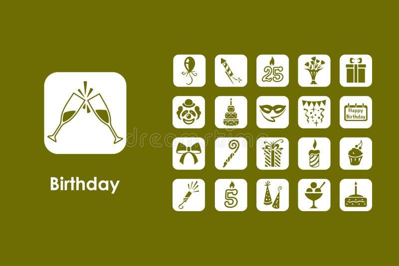 Reeks verjaardags eenvoudige pictogrammen vector illustratie