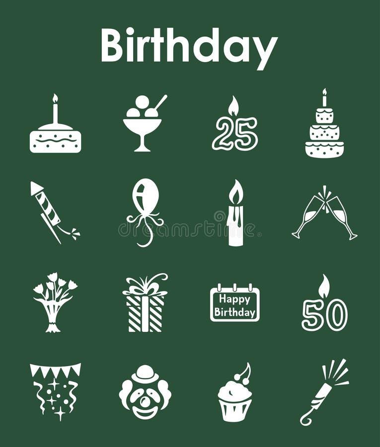 Reeks verjaardags eenvoudige pictogrammen stock illustratie