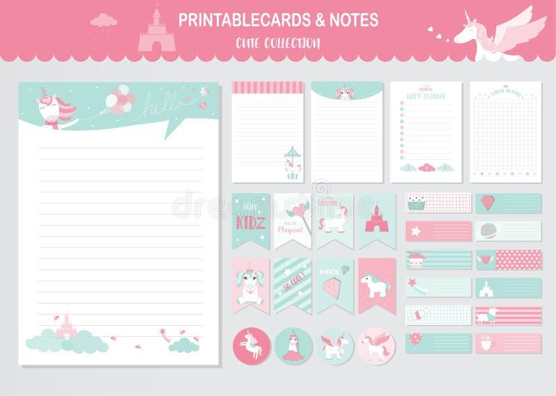 Reeks verjaardagskaarten, affiche, uitnodigingen, kaarten, malplaatje, groetkaarten, dieren, eenhoorn, fantasie, wolk, magische,  royalty-vrije illustratie