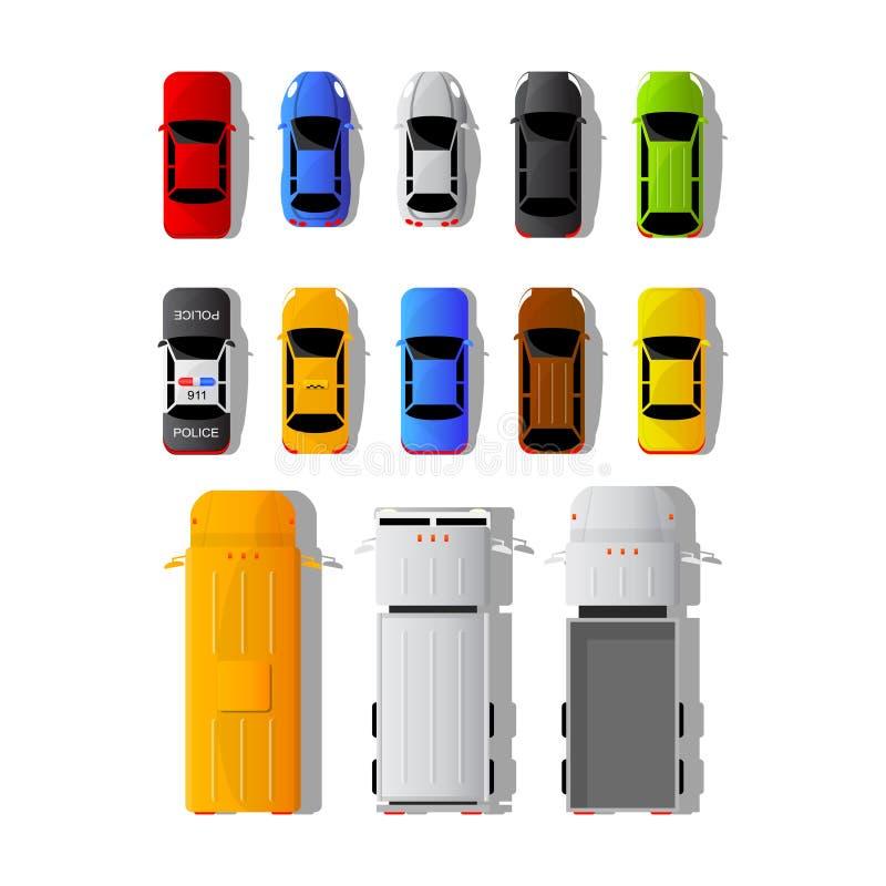 Reeks verschillende auto's en vrachtwagens in hoogste mening stock illustratie