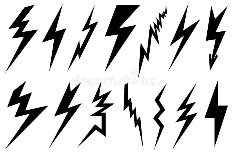 Reeks verschillende bliksembouten vector illustratie