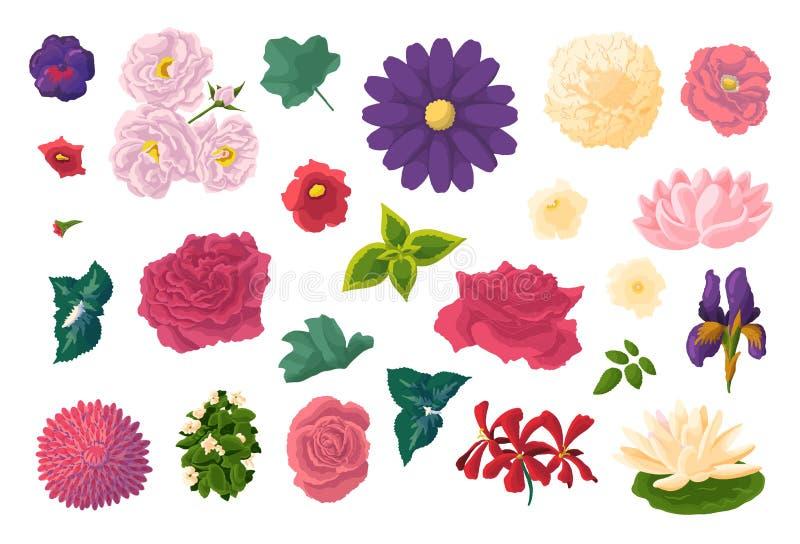 Reeks verschillende bloemen in krabbelstijl Hand getrokken elementen voor huwelijks bloemenontwerp, vectorillustratie De Bloesem  vector illustratie