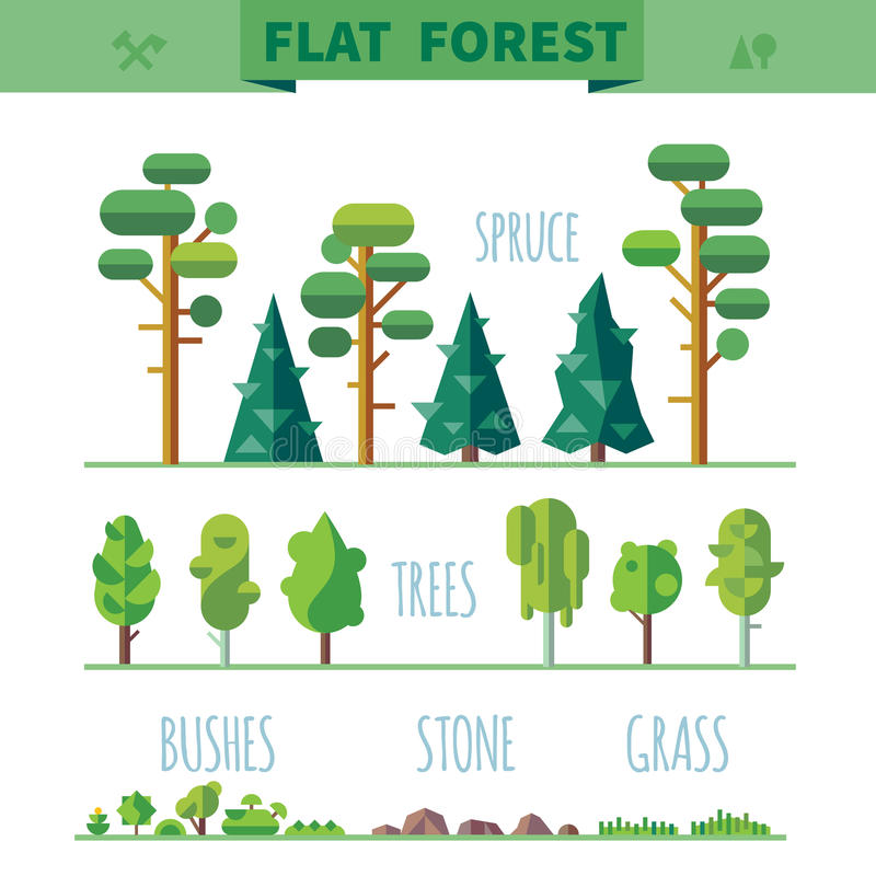 Reeks verschillende bomen, rotsen, gras royalty-vrije illustratie