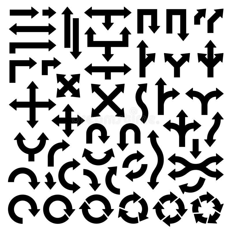 Reeks Verschillende Brede Zwarte Pijlen stock illustratie