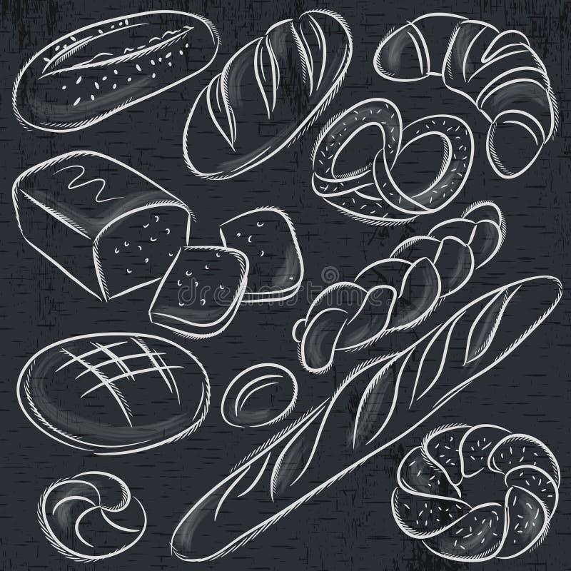 Reeks verschillende broden op bord vector illustratie