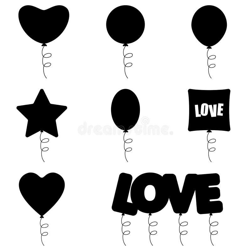 Reeks verschillende die ballons op wit wordt geïsoleerd stock fotografie