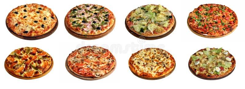 Reeks verschillende die pizza's op wit wordt geïsoleerd royalty-vrije stock afbeeldingen