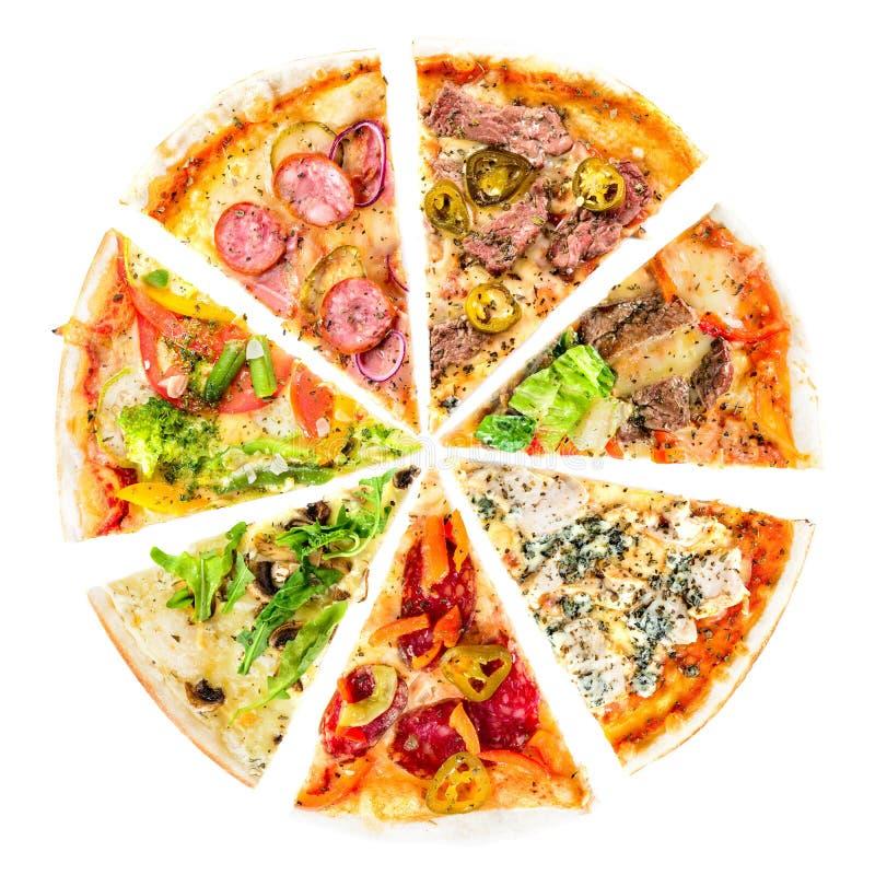 Reeks Verschillende die plakken van pizza op wit wordt geïsoleerd Heerlijk Fr stock afbeeldingen