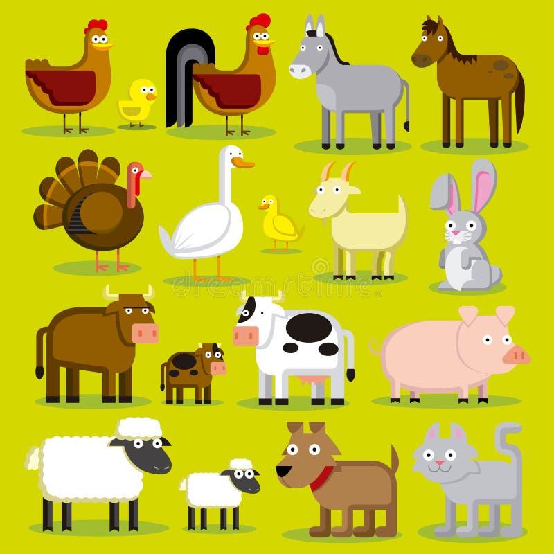 Download Reeks Verschillende Dieren Geïsoleerde Van Het Beeldverhaallandbouwbedrijf Stock Illustratie - Illustratie bestaande uit paard, tekening: 39104330