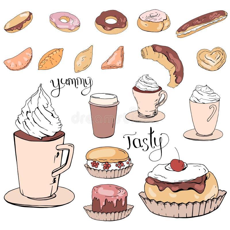 Reeks verschillende dranken, gebakje en snoepjes vector illustratie