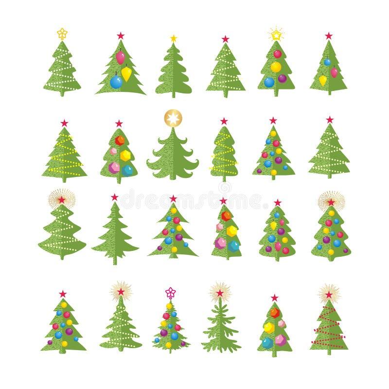 Reeks verschillende elegante Kerstmisbomen royalty-vrije illustratie