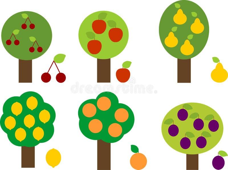 Reeks verschillende fruitbomen in vereenvoudigde die beeldverhaalstijl op witte achtergrond wordt geïsoleerd vector illustratie