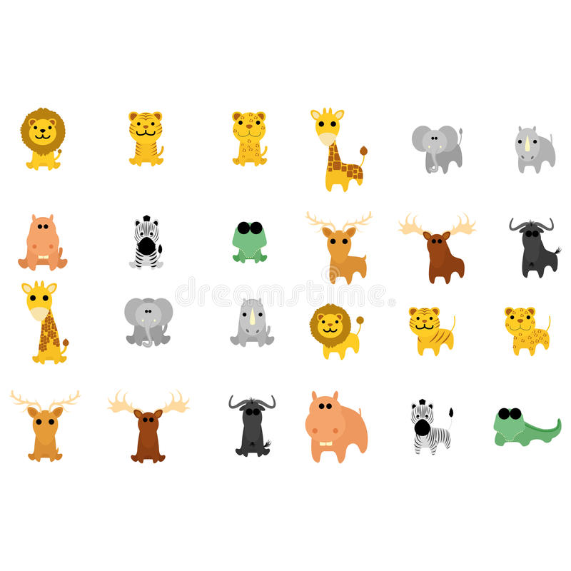 Reeks Verschillende Geïsoleerde Beeldverhaal Aanbiddelijke Dieren royalty-vrije illustratie