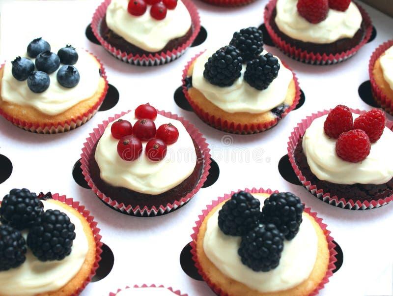 Reeks verschillende heerlijke smakelijke muffins met bessen op witte B royalty-vrije stock afbeelding
