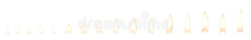 Reeks verschillende heldere kaarsvlammen op wit royalty-vrije stock afbeeldingen