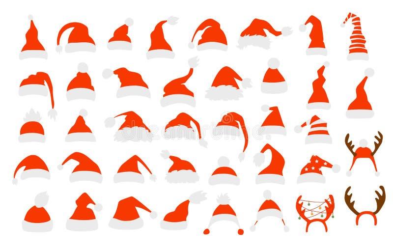 Reeks verschillende hoeden van de Kerstman stock illustratie
