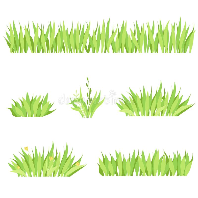 Reeks verschillende horizontale samenstellingen van gras Geïsoleerd tuingazon op een witte achtergrond stock illustratie