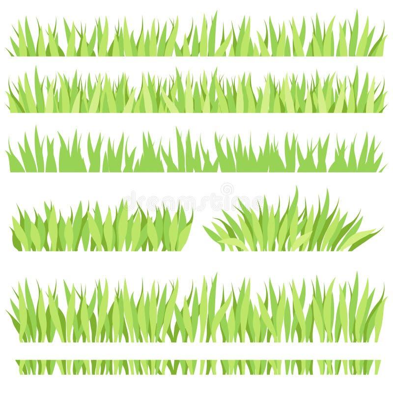 Reeks verschillende horizontale samenstellingen van gras Geïsoleerd tuingazon op een witte achtergrond royalty-vrije illustratie