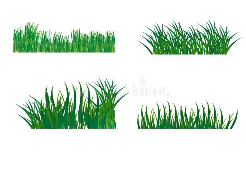 Reeks verschillende horizontale samenstellingen van gras Ge?soleerd tuingazon op een witte achtergrond Vector illustratie royalty-vrije illustratie