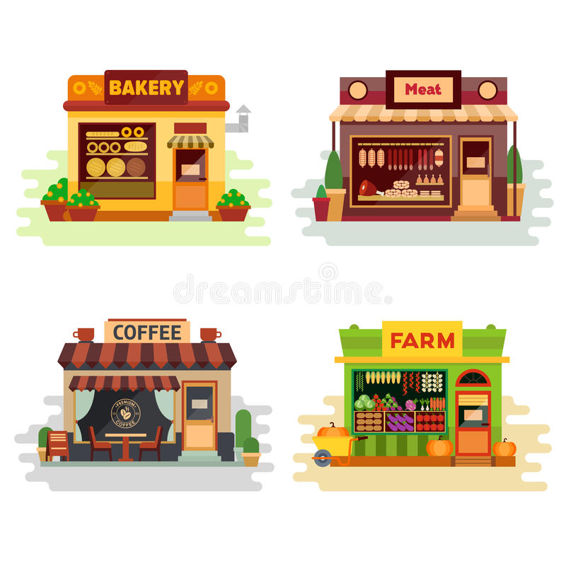 Reeks verschillende kleurrijke winkelsbakkerij, vleeswinkel, koffiewinkel, landbouwproducten, fruit en groenten Vlakke vector stock illustratie
