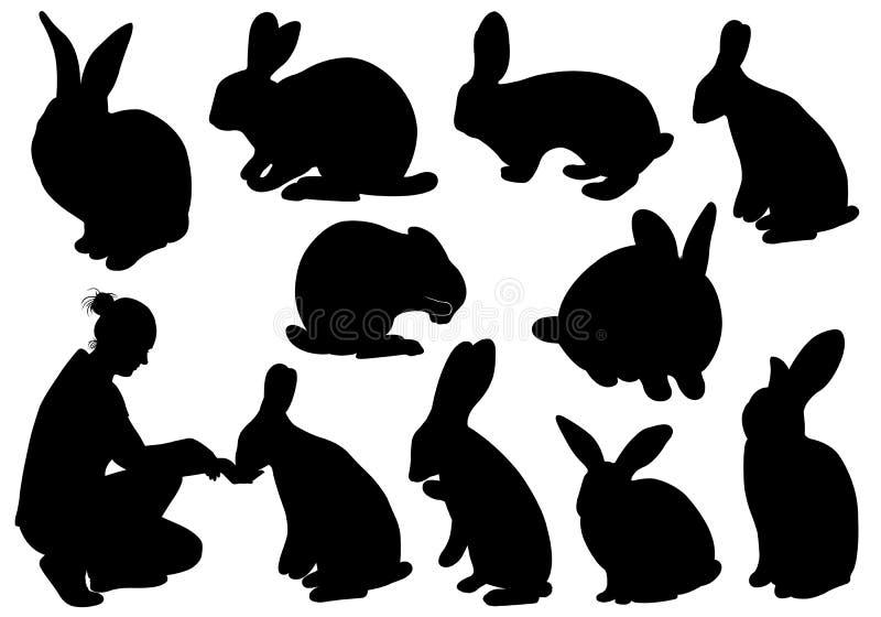 Reeks verschillende konijnen royalty-vrije illustratie
