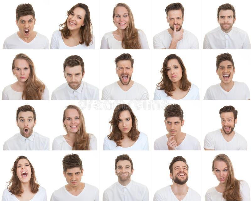 Reeks verschillende mannelijke en vrouwelijke gezichten stock fotografie