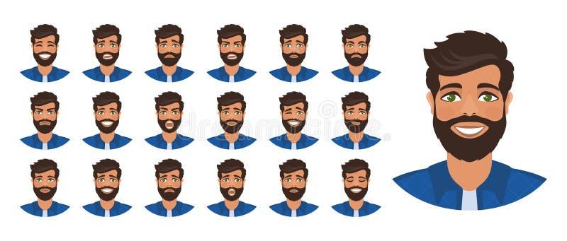 Reeks verschillende mannelijke gezichtsemoties vector illustratie