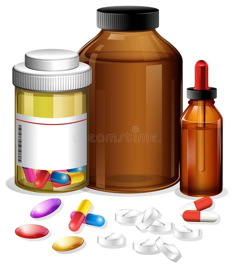 Reeks verschillende medische containers en pillen vector illustratie