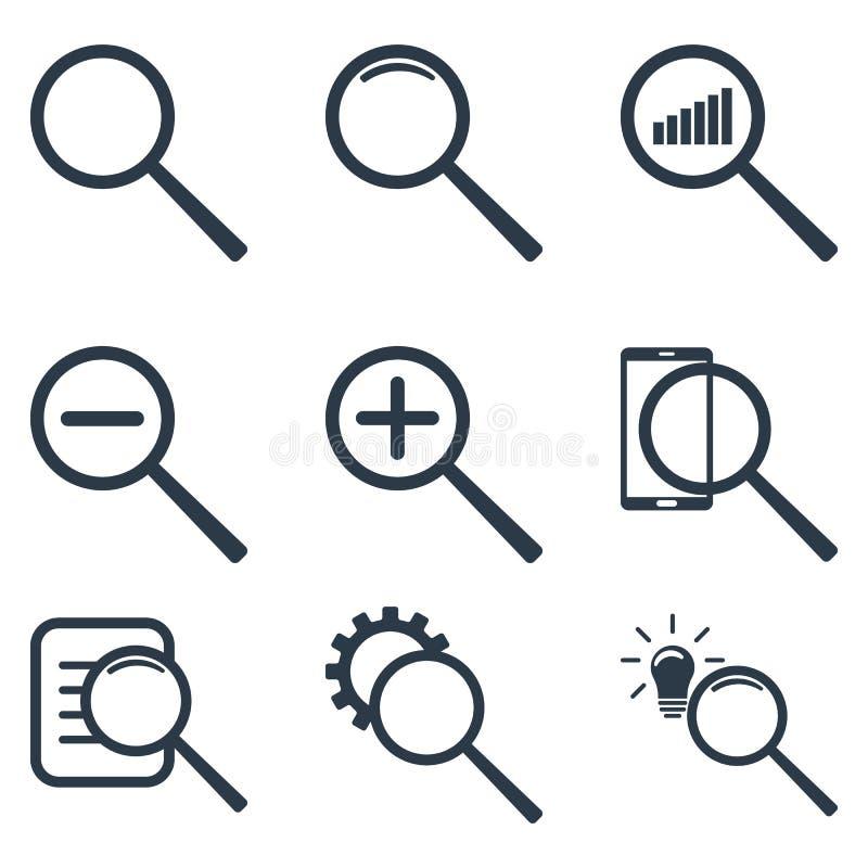 Reeks verschillende meer magnifier pictogrammen Het gezoem, statistiek, onderzoeksinformatie, vindt idee Vector illustratie die o stock illustratie