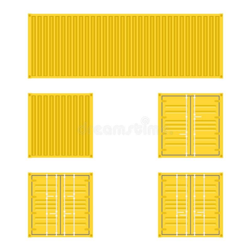Reeks verschillende meningen van de gele containers van het ladingsvervoer voor logistiekvervoer en het verschepen op een witte a stock illustratie