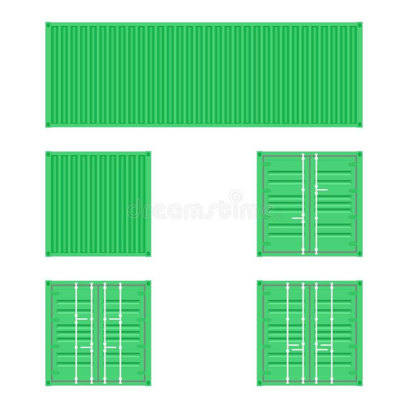 Reeks verschillende meningen van de groene containers van het ladingsvervoer voor logistiekvervoer en het verschepen op een witte stock illustratie