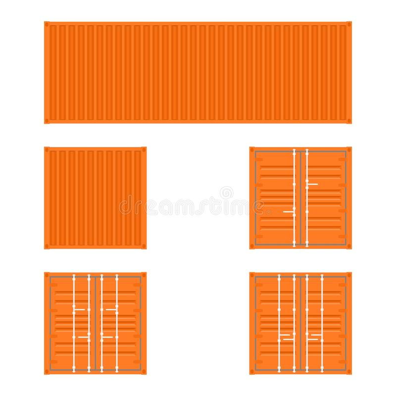 Reeks verschillende meningen van de oranje containers van het ladingsvervoer voor logistiekvervoer en het verschepen op een witte vector illustratie
