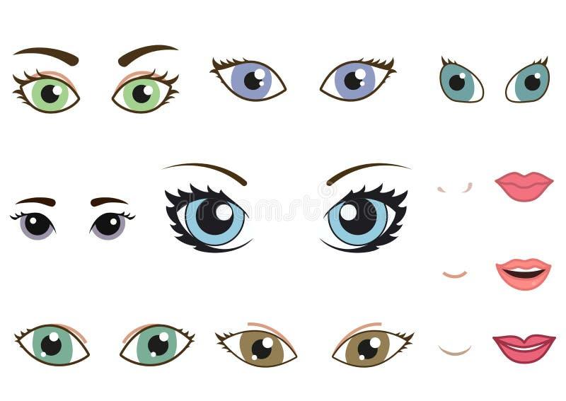 Reeks verschillende menselijke ogen, wenkbrauwen, neuzen en royalty-vrije illustratie