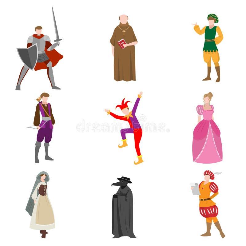 Reeks verschillende middeleeuwse mensen in kleurrijke kleren en voorwerpen vector illustratie