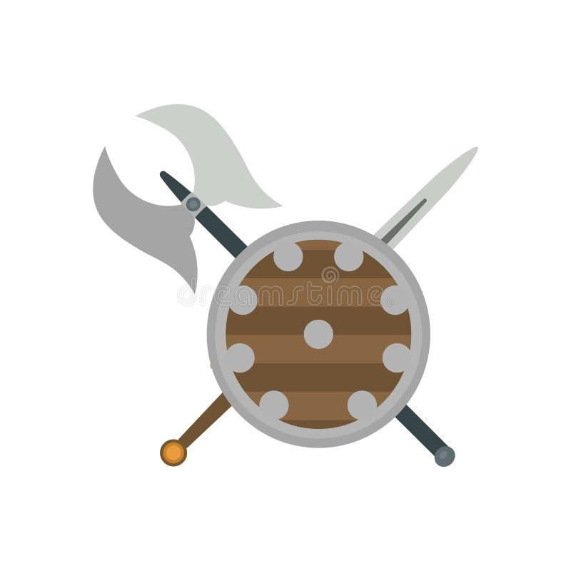 Reeks verschillende middeleeuwse wapens vector vlakke illustraties royalty-vrije illustratie