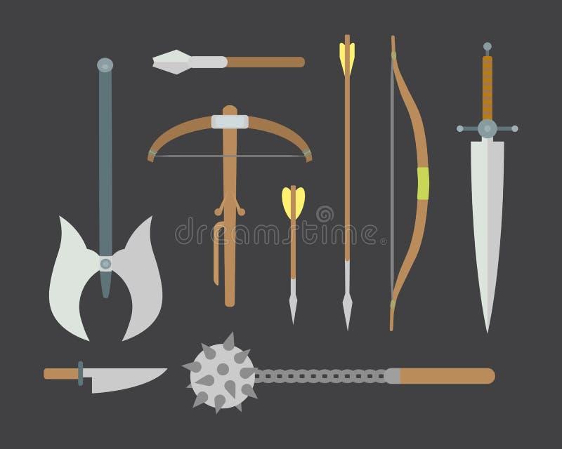 Reeks verschillende middeleeuwse wapens vector vlakke illustraties vector illustratie