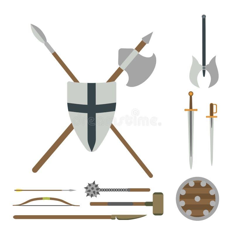 Reeks verschillende middeleeuwse wapens vector vlakke illustraties stock illustratie