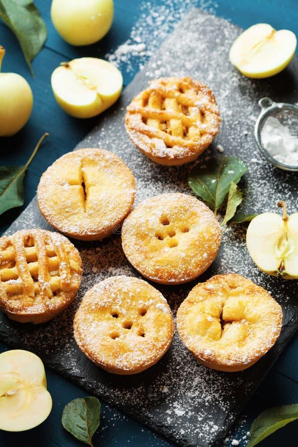 Reeks verschillende miniappeltaarten Het dessert van het de herfstgebakje stock afbeelding