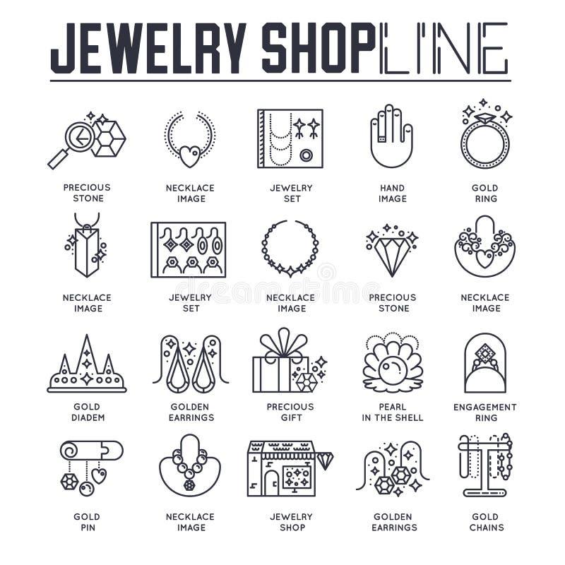 Reeks verschillende pictogrammen gewijd aan juwelenwinkel in dunne lijnstijl Lineair symboolpak Modern malplaatje van dunne lijn royalty-vrije illustratie