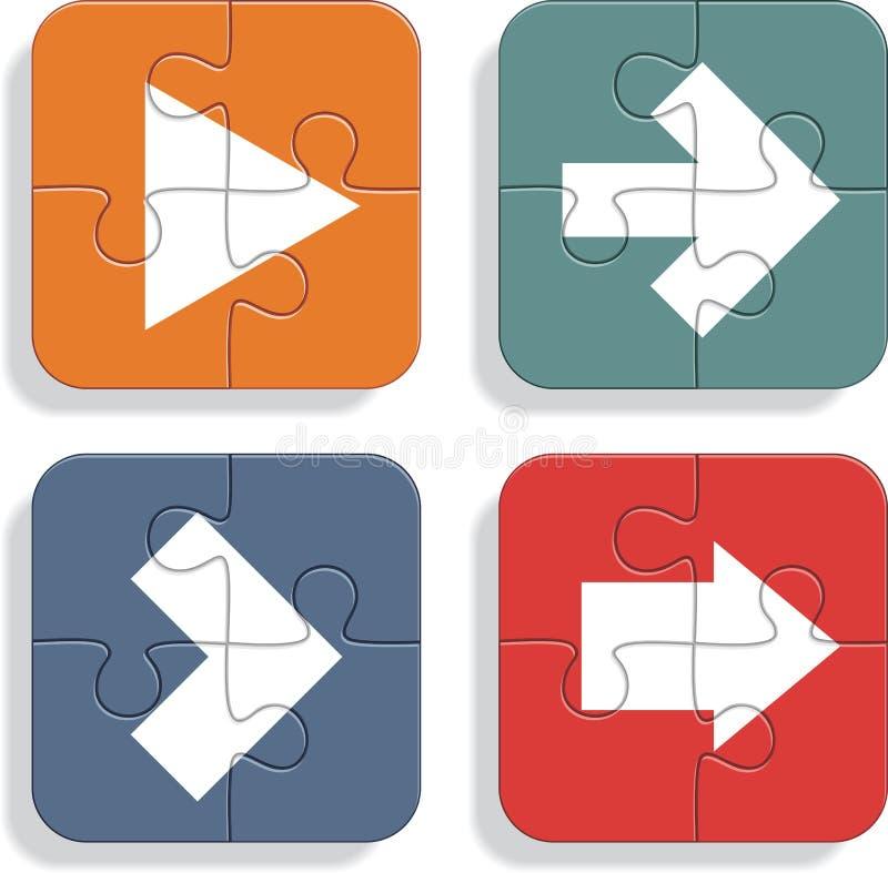 Reeks verschillende pictogrammen van raadselpijlen Vector royalty-vrije illustratie