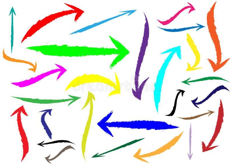 Reeks verschillende pijlen van de grungeborstel, kleurrijke die wijzers, op witte achtergrond worden geïsoleerd De veelkleurige s vector illustratie