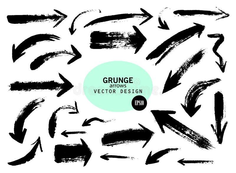 Reeks verschillende pijlen van de grungeborstel, wijzers Hand getrokken verfvoorwerp voor ontwerpgebruik royalty-vrije illustratie