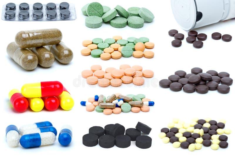 Reeks verschillende pillen en tabletten royalty-vrije stock foto
