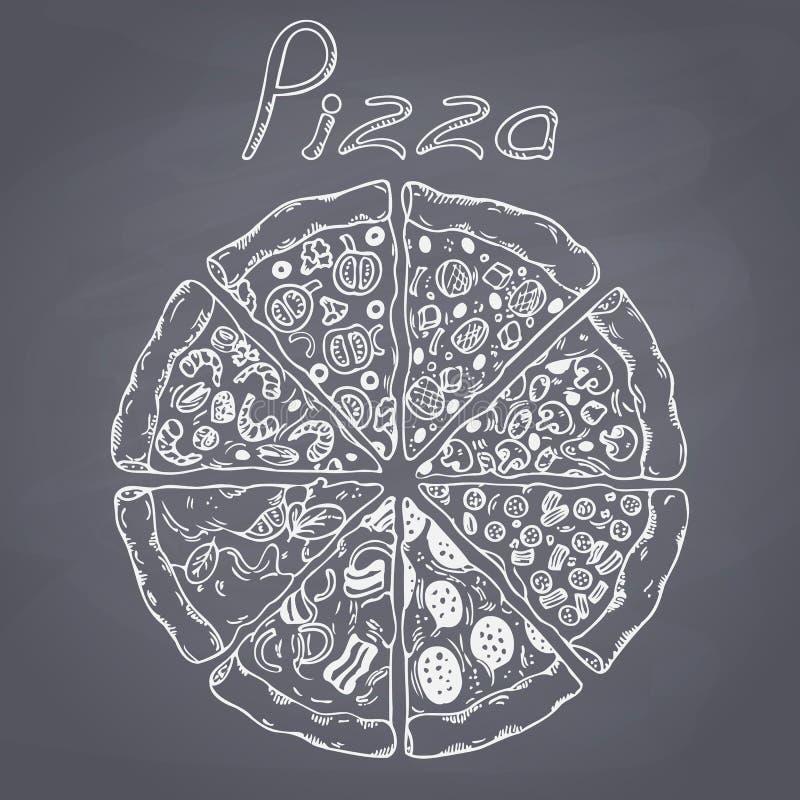 Reeks verschillende plakken van pizza in vector De illustratie van de krijtstijl op bord stock illustratie