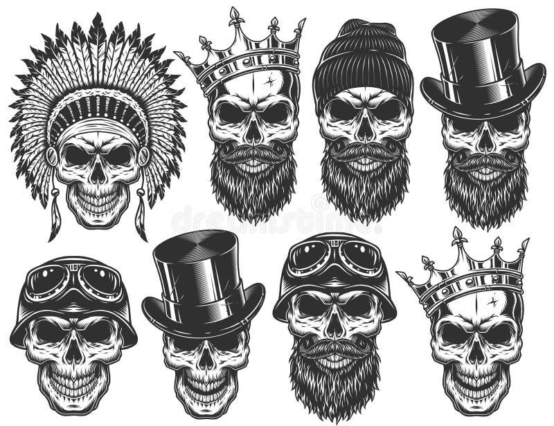 Reeks verschillende schedelkarakters met verschillende hoeden en toebehoren stock foto's
