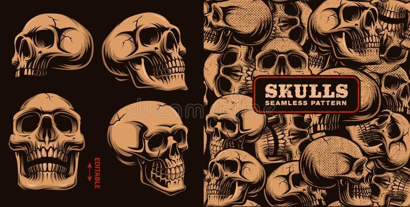 Reeks verschillende schedels met naadloos patroon stock illustratie