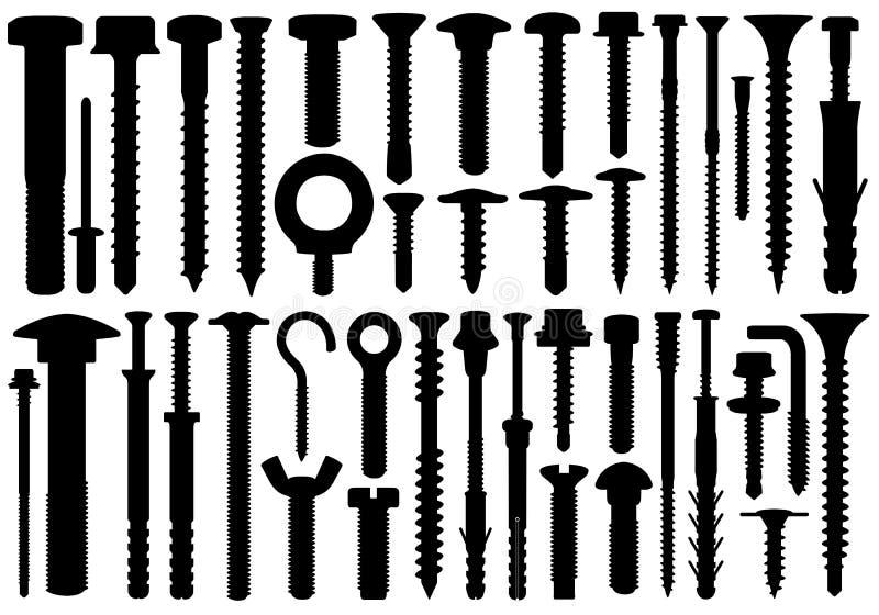 Reeks verschillende schroeven vector illustratie